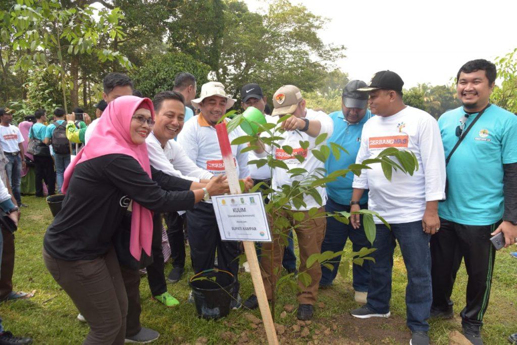 Dukung Program Riau Hijau Bupati Lakukan Penanaman Pohon di Buluh Cina