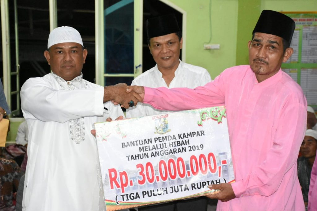 Masjid Nurul Huda Bukit Agung Terima Dana Hiba Rp 30 Juta