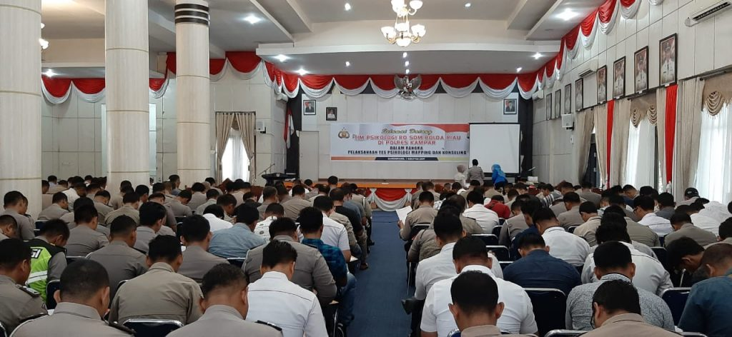 Tim Psikologi Ro SDM Polda Riau Lakukan Tes Psikologi Bagi Calon Pemegang Senpi di Polres Kampar