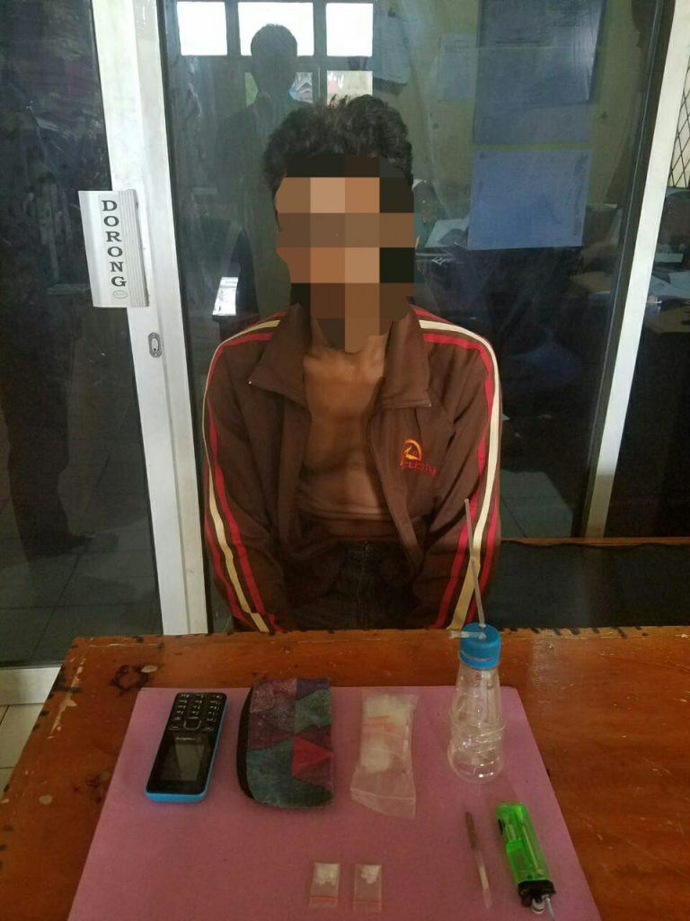 Unit Reskrim Polsek Tapung Tangkap Seorang Pelaku Narkoba di Desa Bencah Kelubi