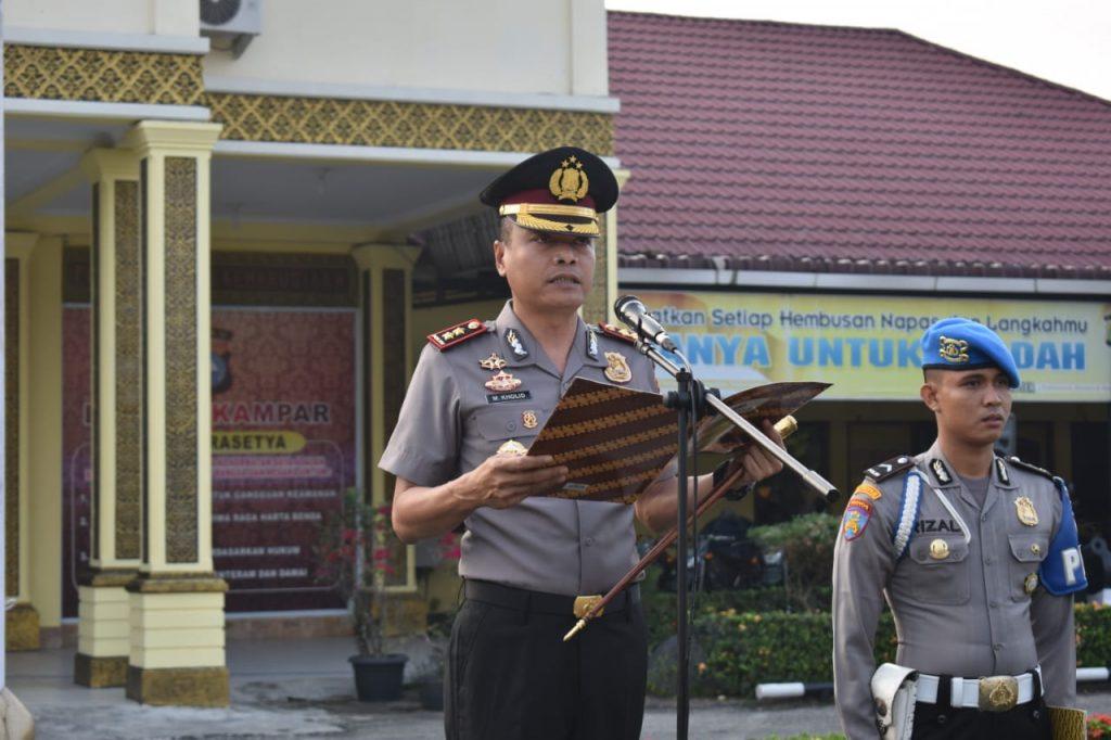 Kapolres Ingatkan Masalah Disiplin dan Antisipasi Karhutla, Saat Upacara Kesadaran Nasional di Polres Kampar