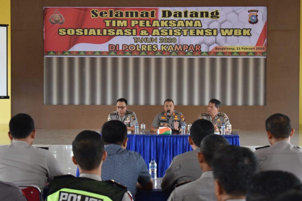 Tim Penilai Zona Integritas Internal Polda Riau, Lakukan Sosialisasi dan Asistensi di Polres Kampar