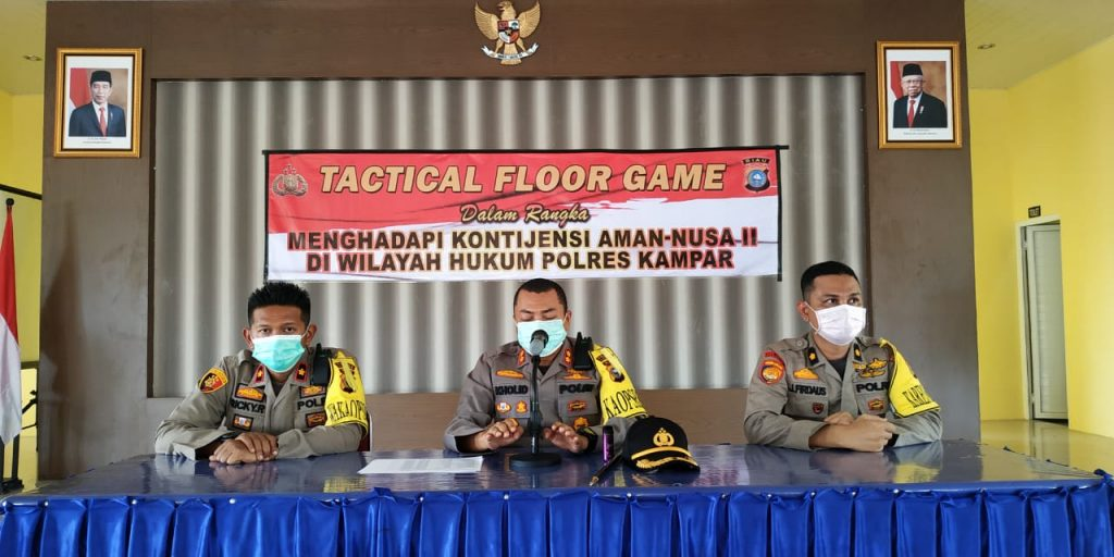 Polres Kampar Gelar Tactical Floor Games untuk Kesiapan Hadapi Kontijensi pada Ops Aman Nusa II