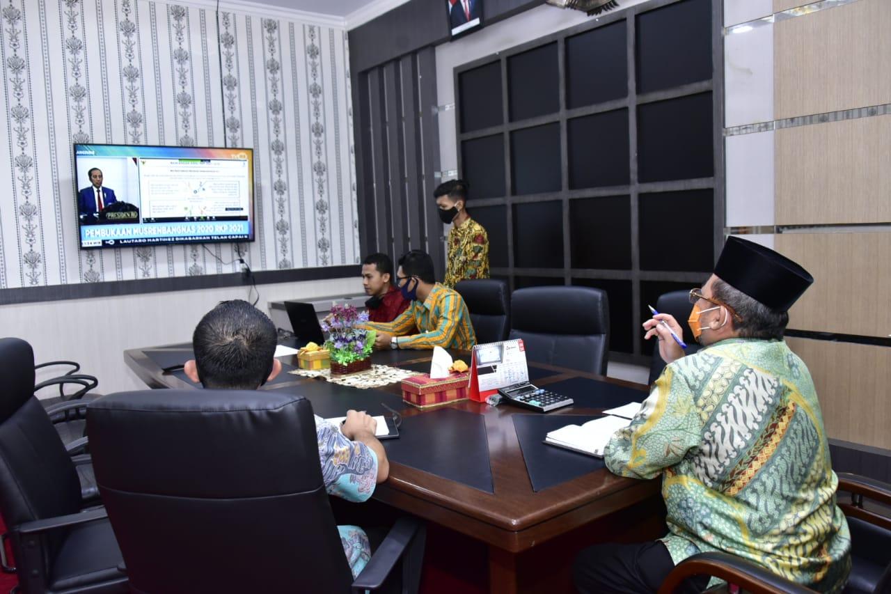 Dilakukan Secara Online, Plh. Bupati Bengkalis Ikuti Musrenbang Nasional Rencana Kerja Pemerintah Tahun 2021