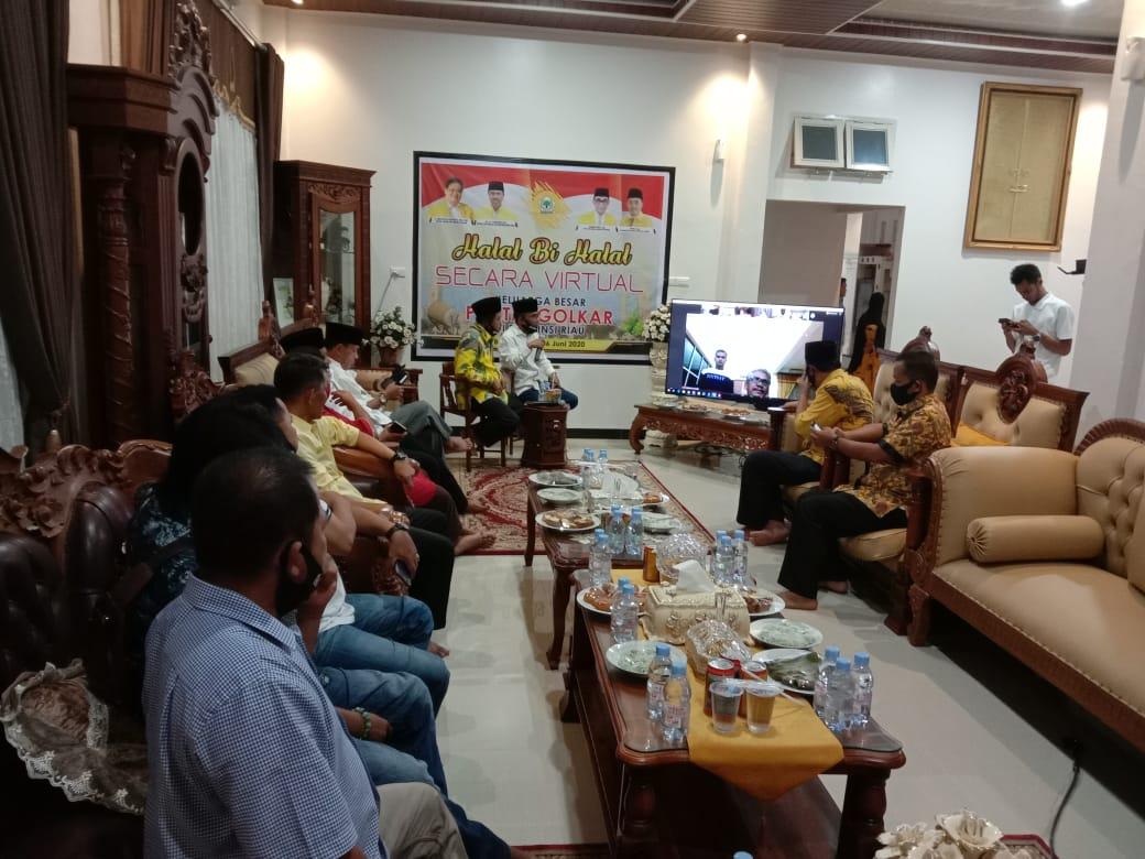 Keluarga Besar DPD Golkar Kampar Ikuti Halal Bihalal Virtual se-Provinsi Riau