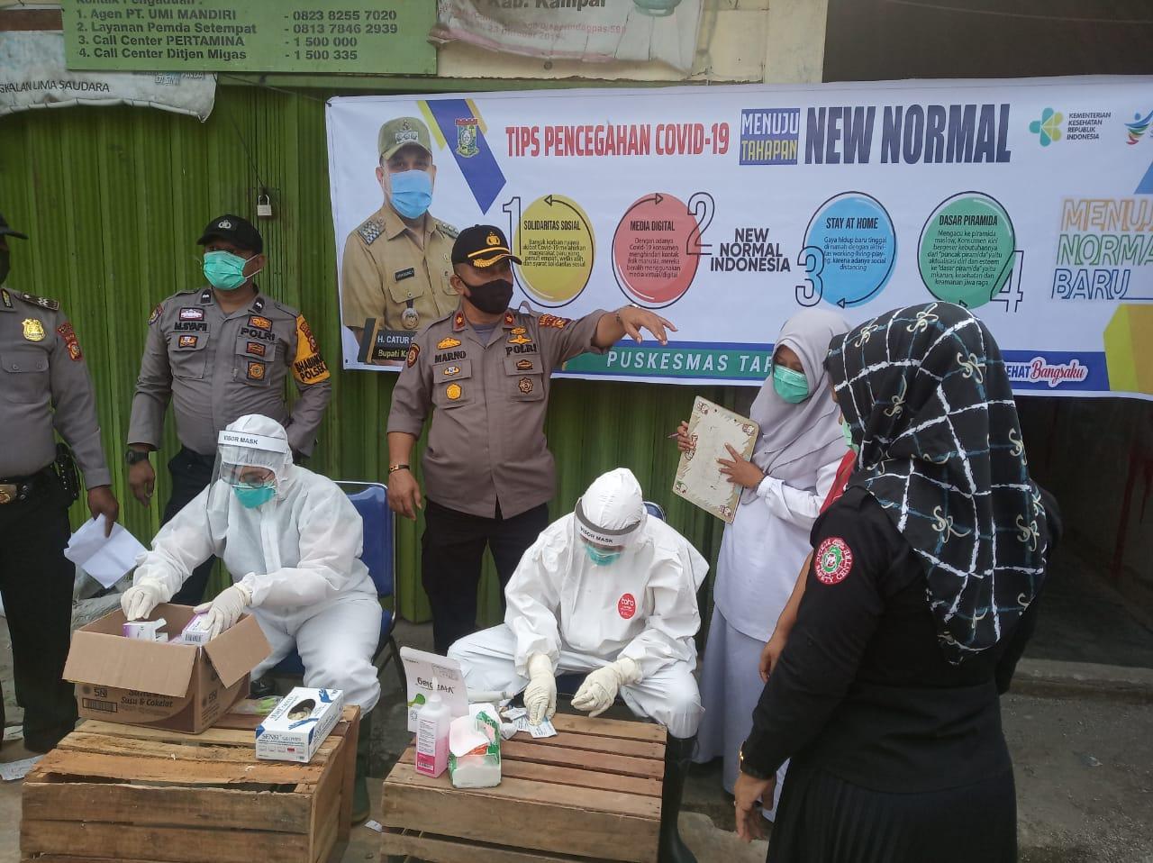 Polsek Tapung Didampingi Puskesmas Tapung Gelar Rapid Test Dalam Rangkan HUT Bhayangkara Ke-74