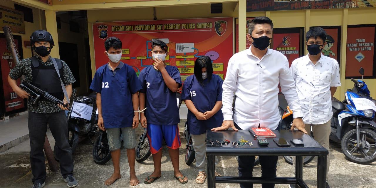3 Komplotan Penadah Motor Curian Ditangkap Reskrim Polres Kampar, 10 Sepeda Motor Diamankan