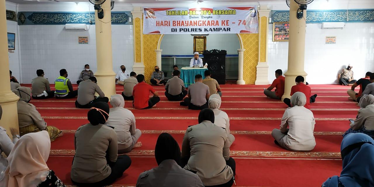 Polres Kampar Gelar Tahlilan dan Do'a Bersama di Masjid Al-Ikhlash Jelang Hari Bhayangkara Ke-74