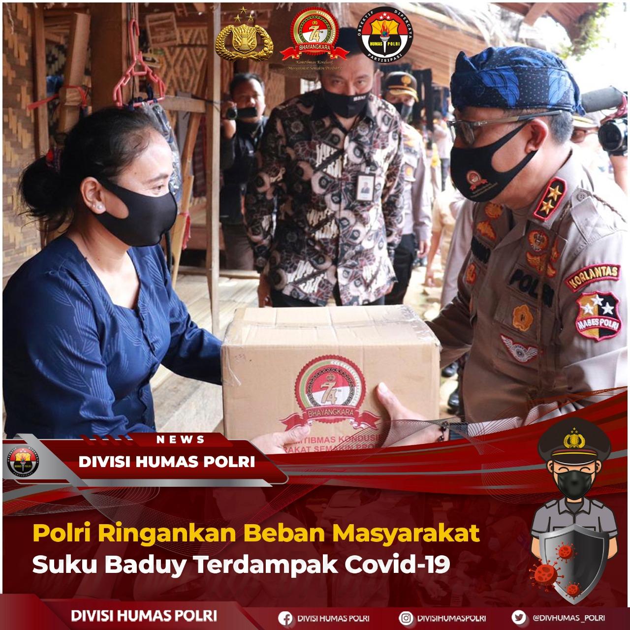 Polri Gelar Baksos Ringankan Beban Masyarakat Suku Baduy Terdampak Covid-19 di Banten