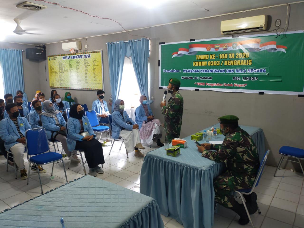 Sosialisasi WASBANG di Desa Muara Basung Dalam rangka TMMD Ke-108 Tahun 2020 Kodim 0303/Bengkalis