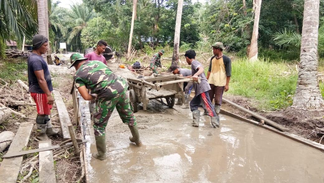 Percepat Pembangunan Jalan Dirasakan Warga Desa Temiang Melalui TMMD ke 108 Kodim 0303/Bengkalis