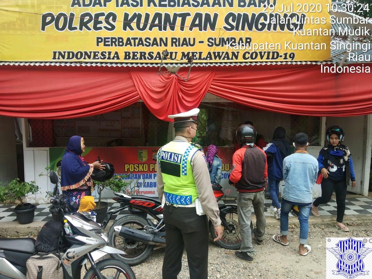 Tekan Penyebaran Covid – 19, Polres Kuansing Sinergis dengan TNI dan Pemkab Kuansing,Tempatkan Personel di Perbatasan Riau Sumbar