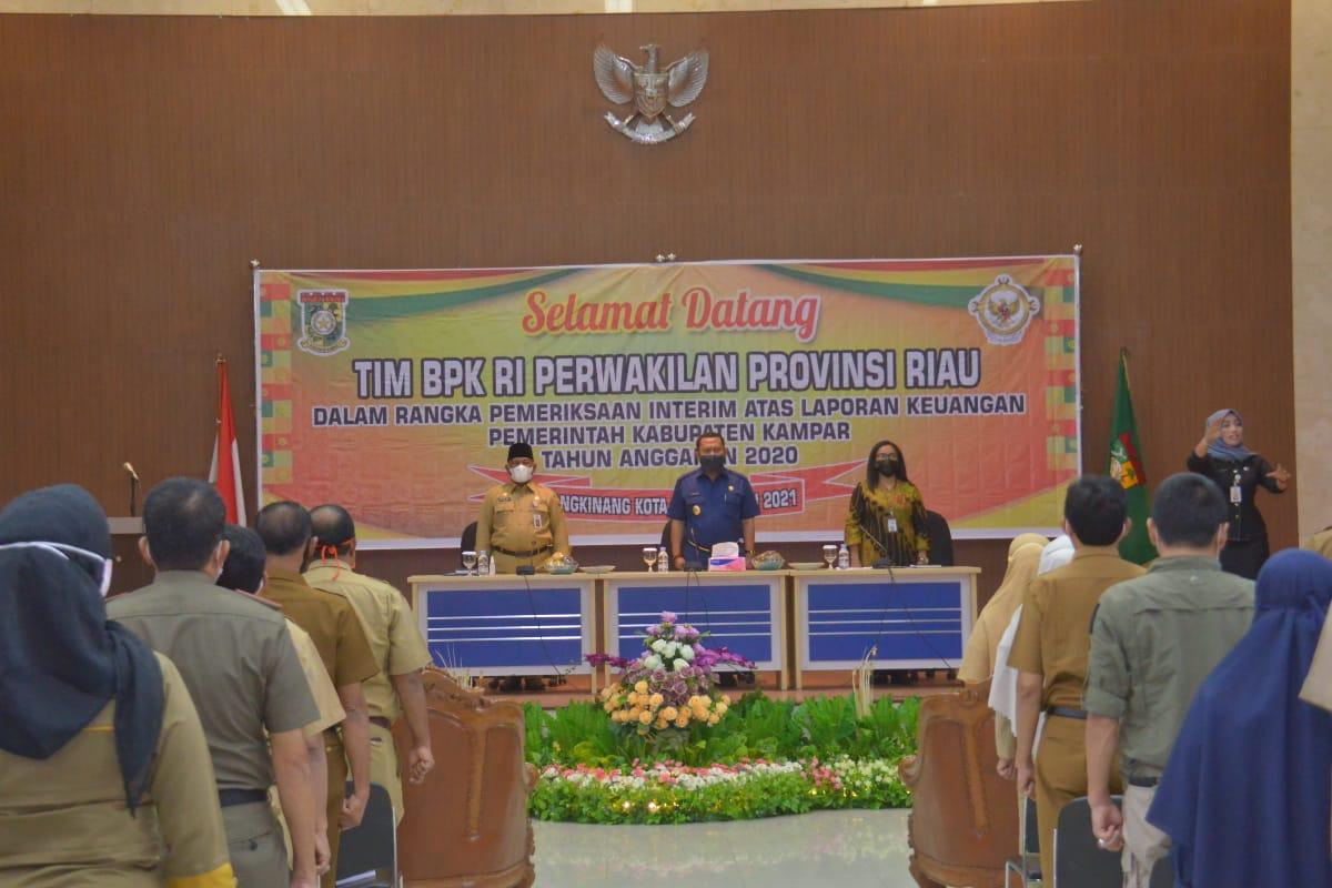 Bupati Sambut Tim Pemeriksa Keuangan Pemerintah Kabupaten Kampar BPK-RI Perwakilan Provinsi Riau