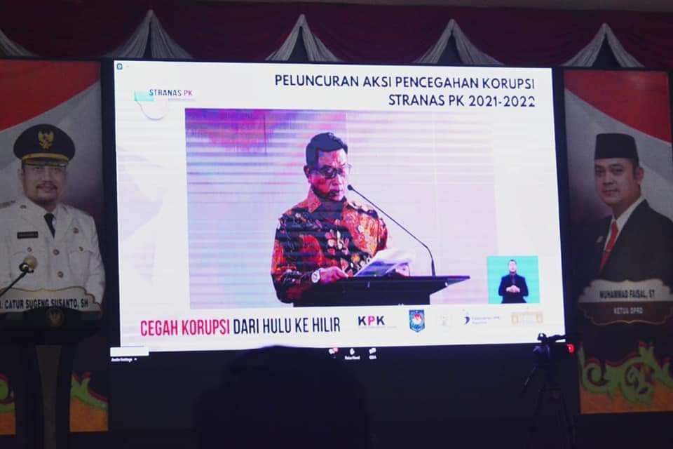 Sekda Kampar Ikuti Vidcon Peluncuran Aksi PK tahun 2021-2022