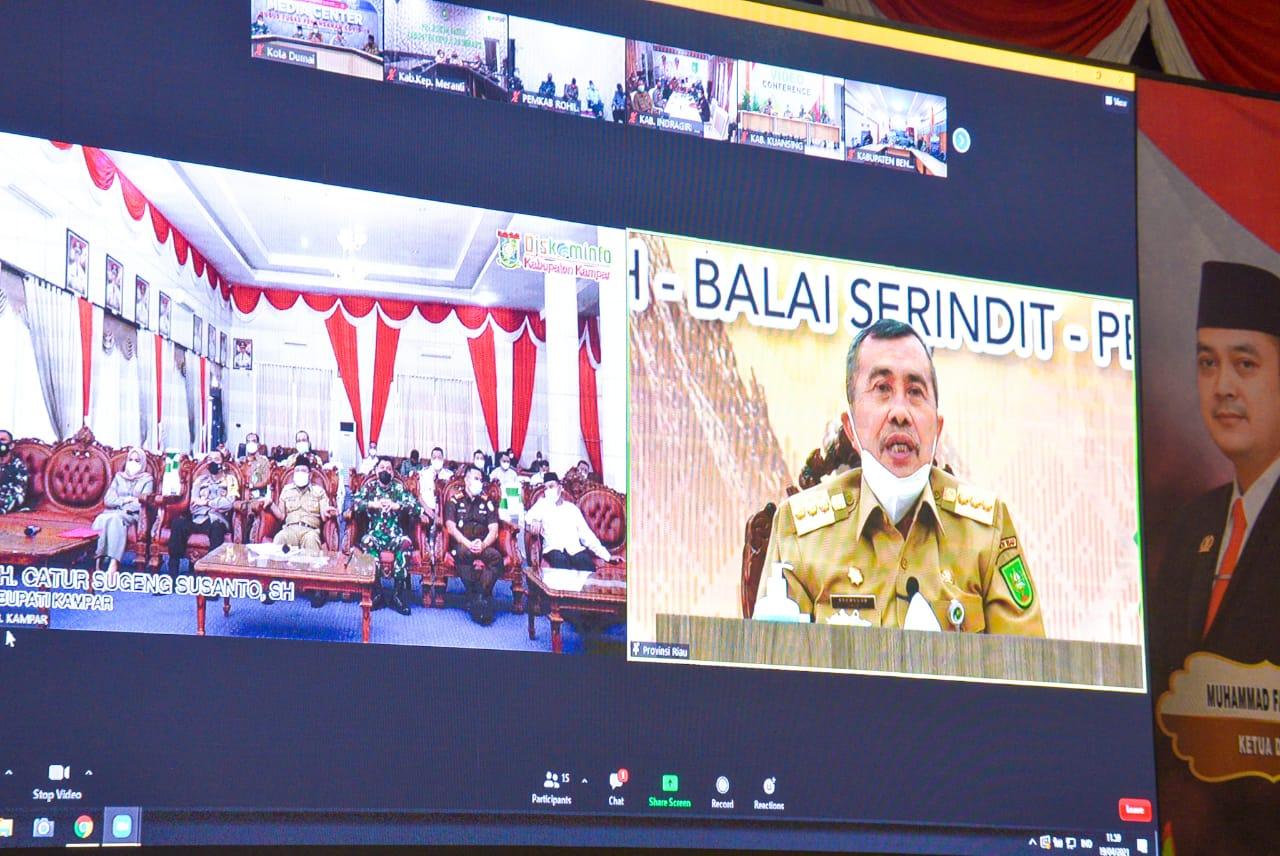 Bupati Ikuti Video Conference Rakor Penanganan Covid-19 Dengan Gubernur Riau